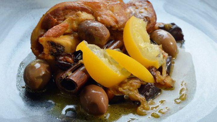 Agneau au citron confit et olives