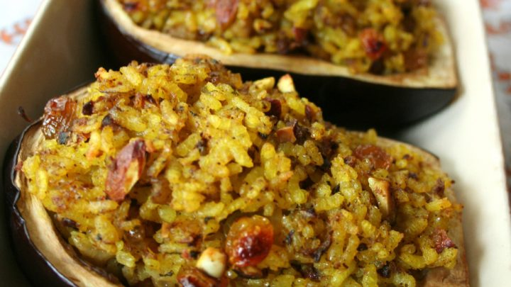Aubergines farcies au riz